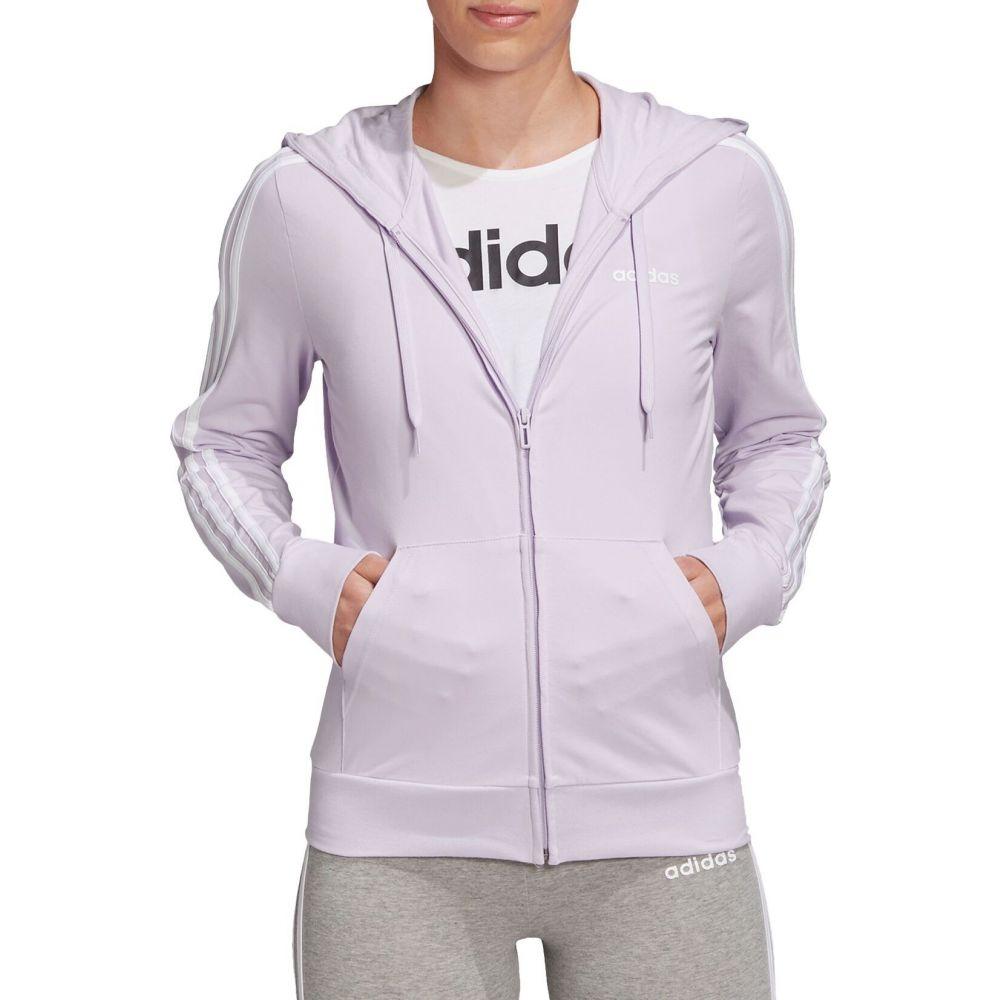 アディダス adidas レディース パーカー トップス【Essentials 3-Stripes Jersey Full Zip Hoodie】Purple Tint/White