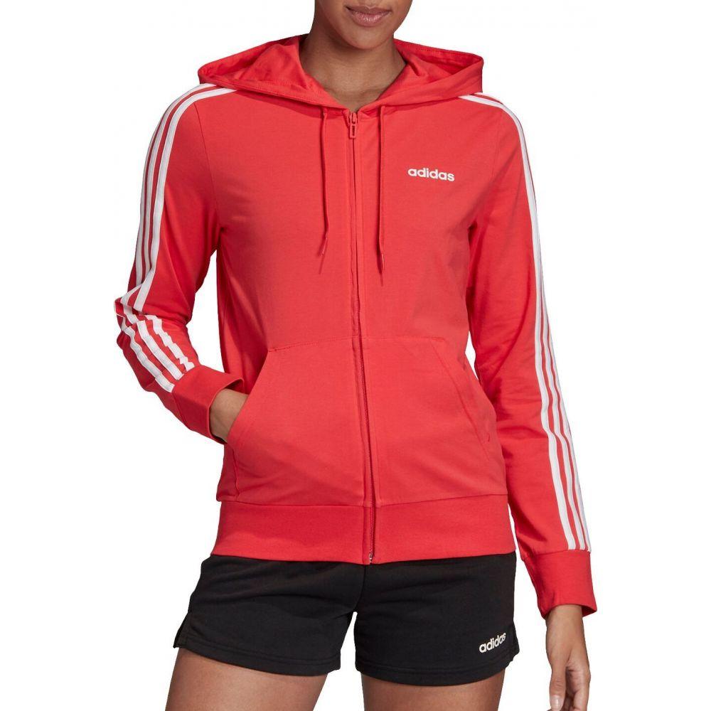 アディダス adidas レディース パーカー トップス【Essentials 3-Stripes Jersey Full Zip Hoodie】Pink/White