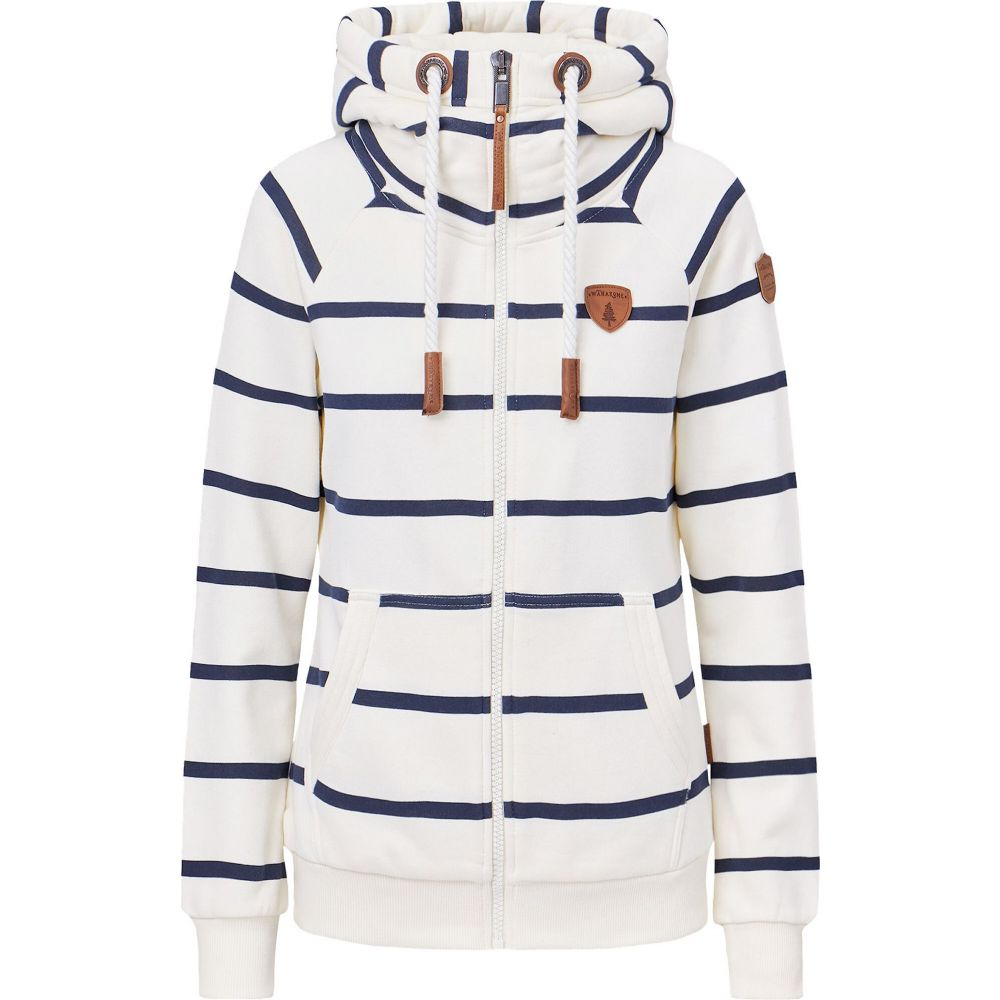 Wanakome レディース パーカー トップス【Hera Print Full Zip Hoodie】Oatmeal Wide Stripe