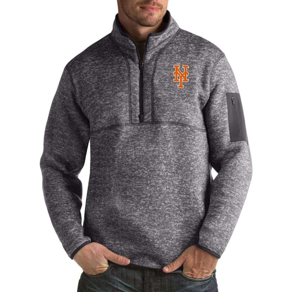 アンティグア Antigua メンズ トップスNew York Mets Fortune Grey Half Zip Pulloverbvf76gyIY