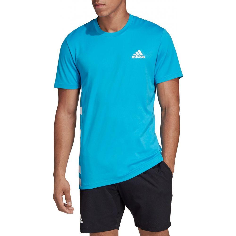 アディダス adidas メンズ テニス Tシャツ トップス【Escouade Tennis T-Shirt】Shock Cyan/White