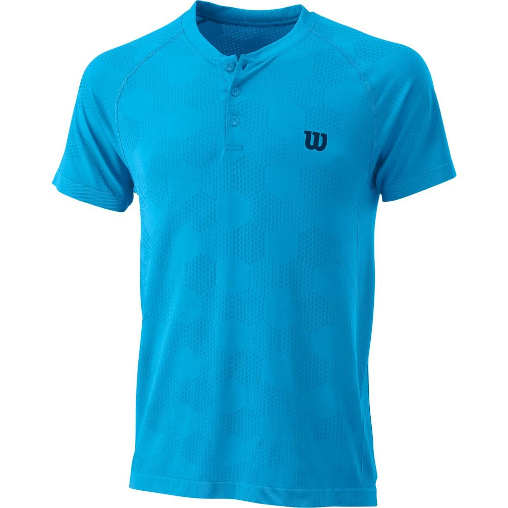 トップス【Power T-Shirt】Coastal テニス Wilson Seamless ヘンリーシャツ ウィルソン Henley Tシャツ Blue メンズ Tennis
