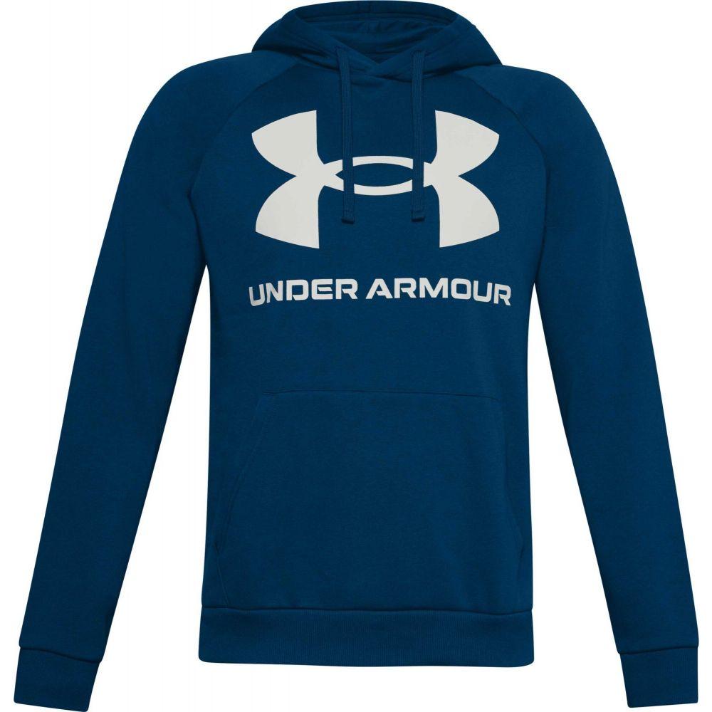 アンダーアーマー Under Armour メンズ パーカー トップス【Rival Fleece Big Logo Hoodie】Graphite Blue/Onyx White