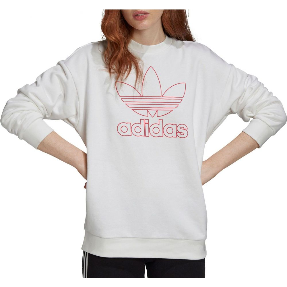 アディダス adidas レディース トップス 【Trefoil Outline Crewneck】White/Pink