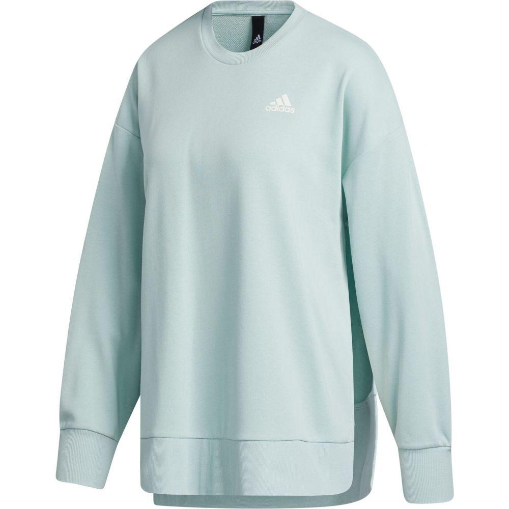 アディダス adidas レディース チュニック トップス【French Terry Split Tunic Crew Sweatshirt】Green Tint/White