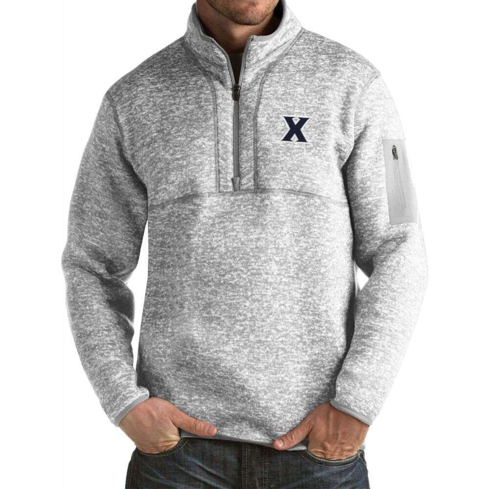 トラスト アンティグア メンズ トップス サイズ交換無料 Antigua Xavier 限定特価 Pullover Jacket Fortune Musketeers Grey
