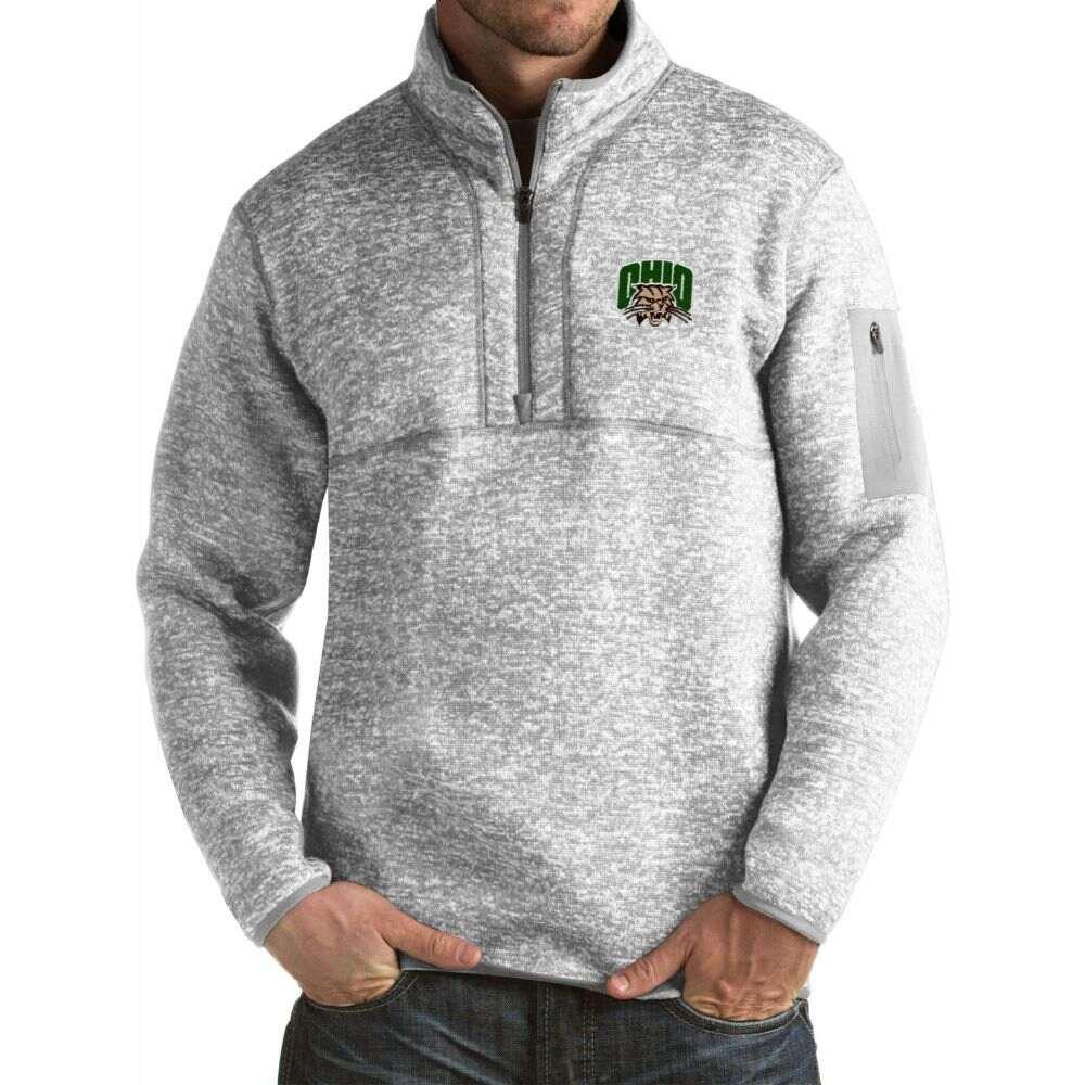 アンティグア メンズ トップス サイズ交換無料 Antigua Ohio ついに再販開始 Fortune Grey Bobcats 公式 Pullover Jacket