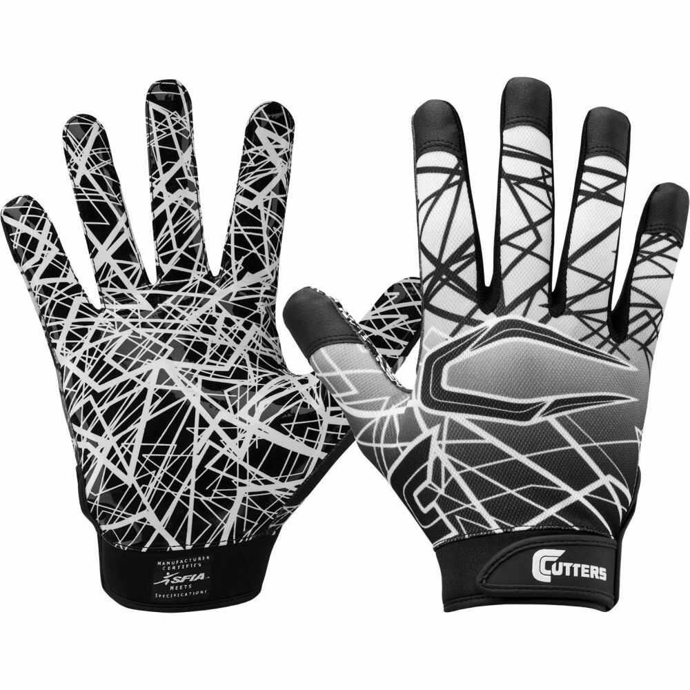 カッターズ ユニセックス アメリカンフットボール グローブ Black サイズ交換無料 チープ Cutters Gloves Day 日本メーカー新品 Receiver Adult Game レシーバーグローブ