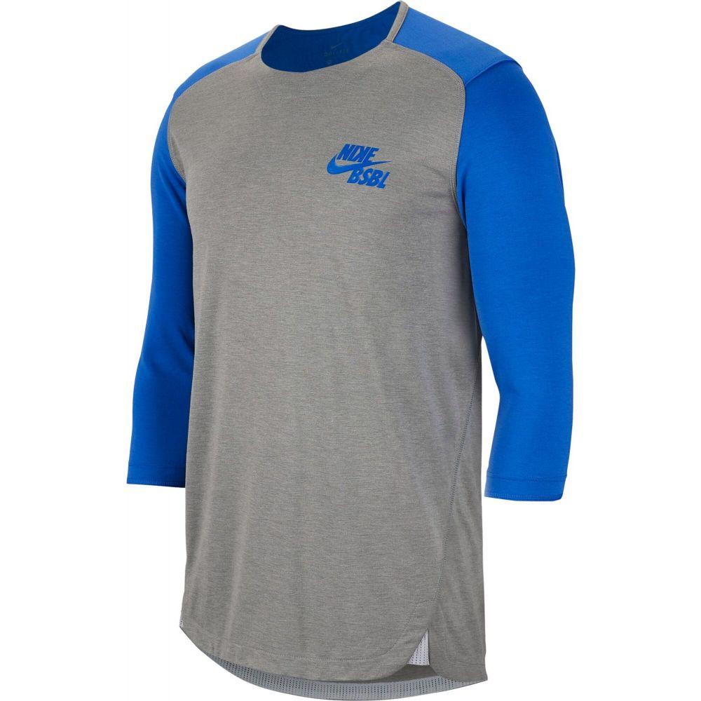 ナイキ Nike メンズ 野球 七分袖 トップス【3/4 Sleeve Baseball Top】Tm Ryl/Dk Gry Hthr/Gm Ryl