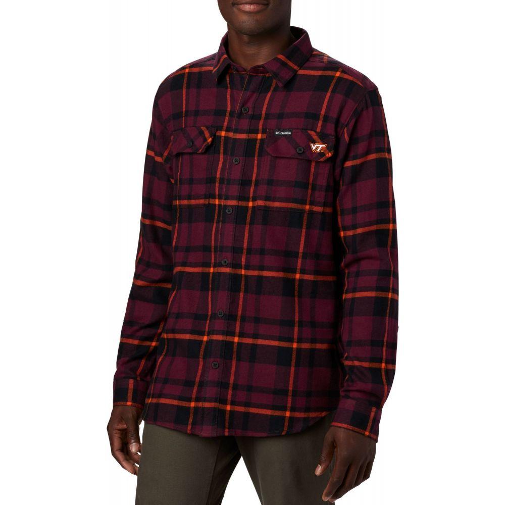 Long Flannel Sleeve Shirt】 Down Maroon Tech Flare Columbia シャツ フランネルシャツ Button Gun メンズ トップス【Virginia Plaid コロンビア Hokies
