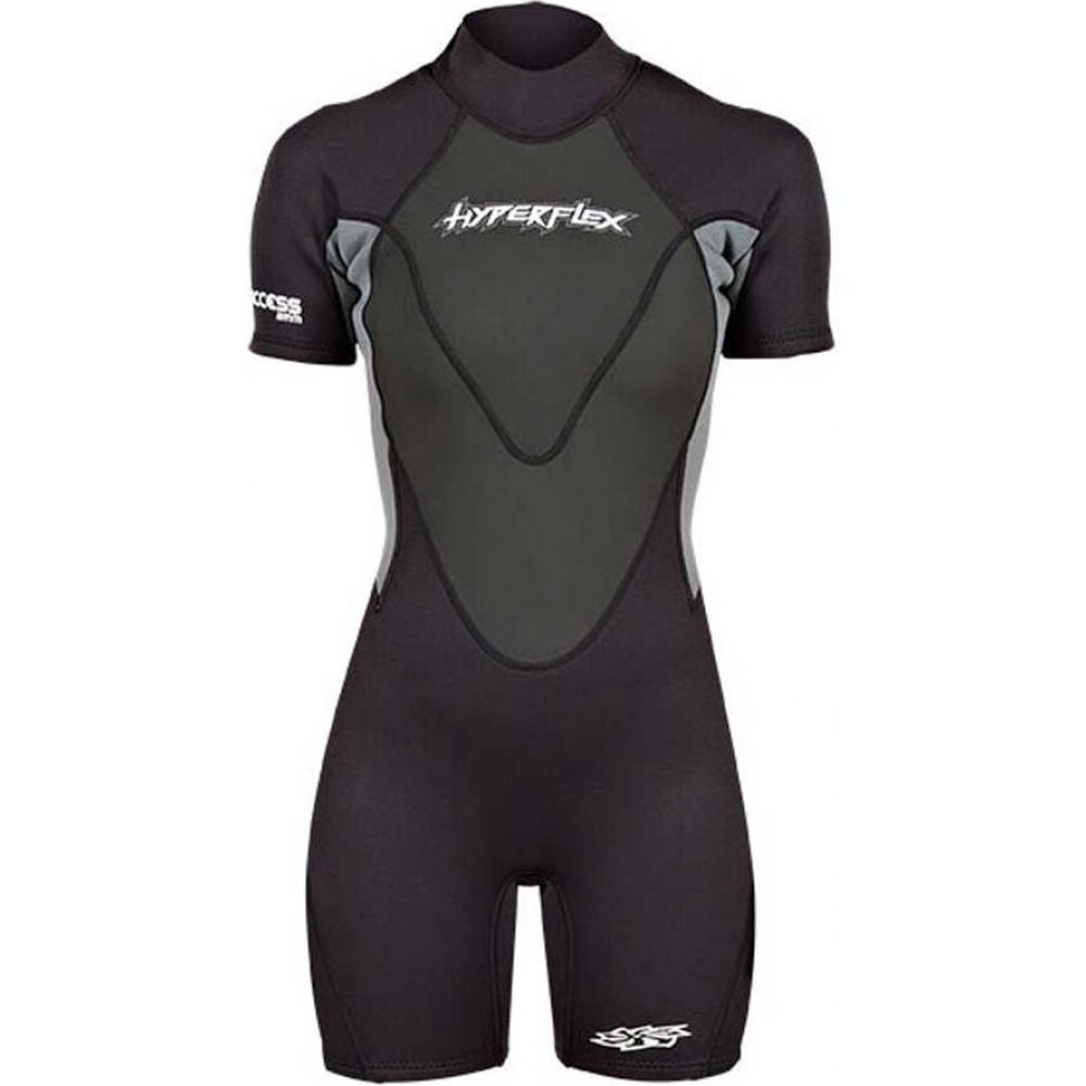 Hyperflex 水着・ビーチウェア【Access ハイパーフレックス Backzip レディース ウェットスーツ Springsuit】Black/Gray