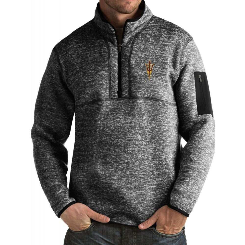 アンティグア メンズ トップス AL完売しました。 サイズ交換無料 Antigua Arizona State Devils Black Jacket 限定Special Price Pullover Fortune Sun