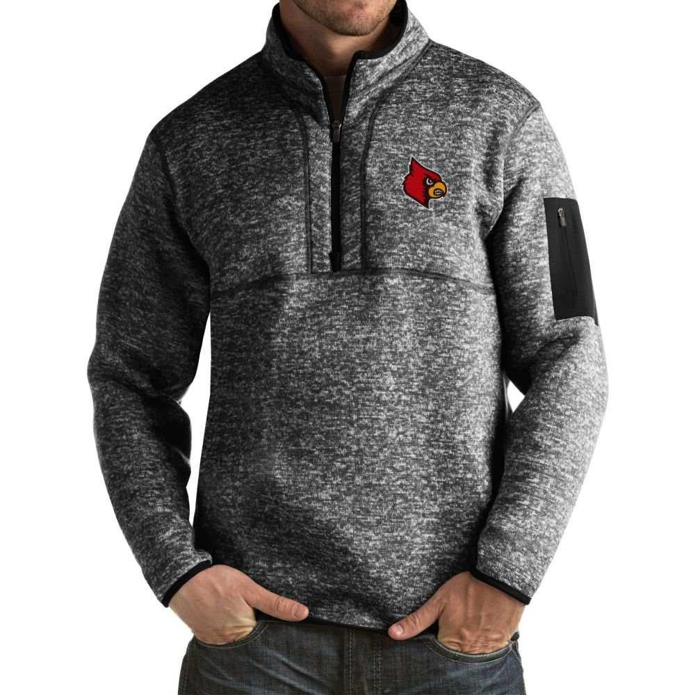 アンティグア メンズ トップス サイズ交換無料 Antigua Louisville 大好評です Fortune Jacket Pullover 数量限定アウトレット最安価格 Black Cardinals