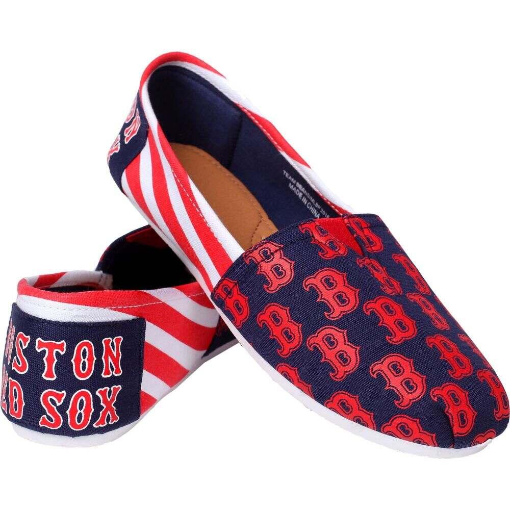 シューズ・靴 FOCO Red メンズ 【Boston Canvas Sox フォコ Shoes】 Striped