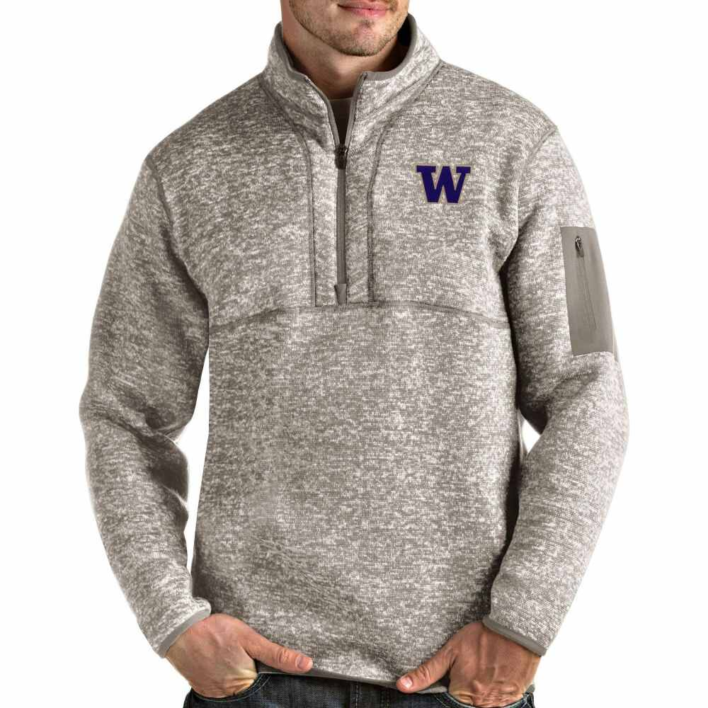 【当店一番人気】 アンティグア Antigua メンズ トップス 【Washington Huskies Oatmeal Fortune Pullover Black Jacket】, あんずの里のあんずショップ cbc860f7