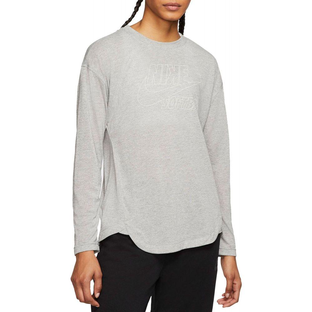 ナイキ Nike レディース 野球 トップス【Breathe Long-Sleeve Softball Top】Dk Grey Heather/White