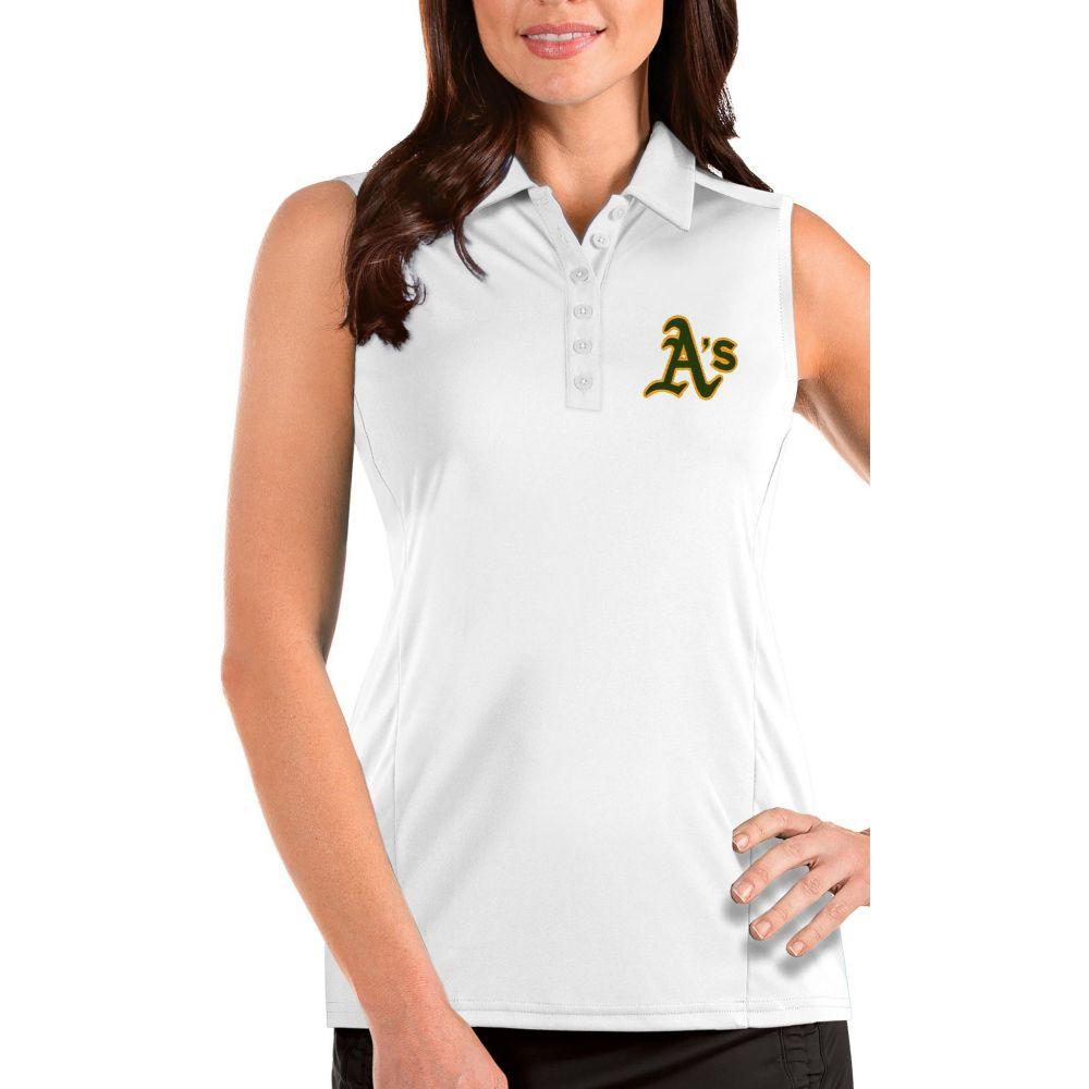 アンティグア レディース トップス ポロシャツ サイズ交換無料 売れ筋ランキング Antigua Athletics Oakland Sleeveless 贈物 Polo Tribute White