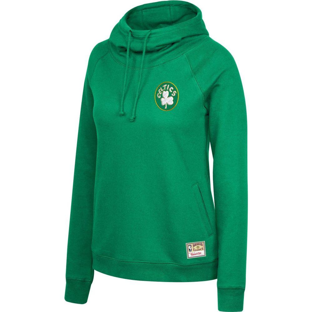 ミッチェルネス レディース 出群 トップス パーカー サイズ交換無料 Mitchell 激安通販 Ness Neck Hoodie Pullover Celtics Green Boston Funnel