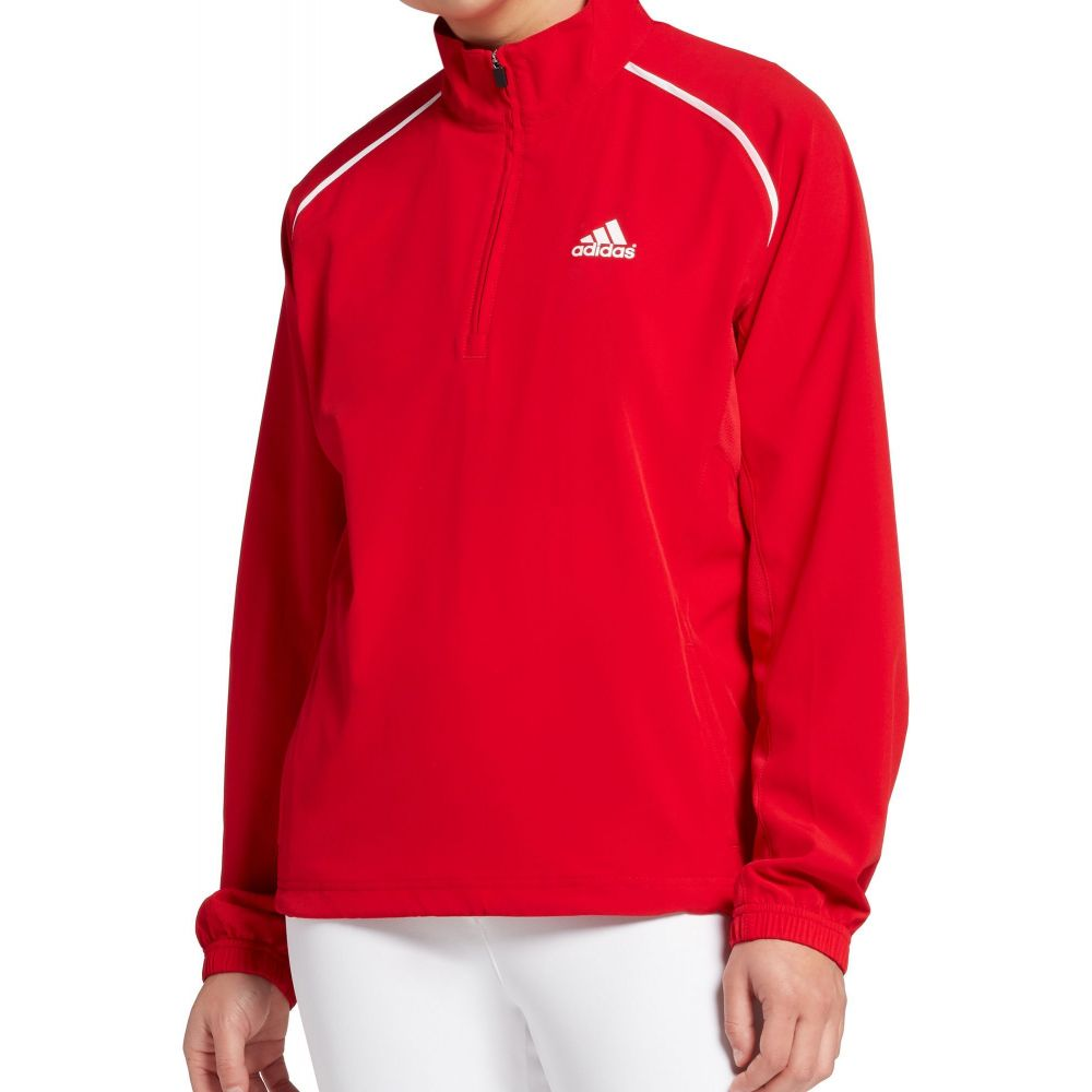 アディダス adidas レディース 野球 ジャケット トップス【Triple Stripe Long Sleeve Woven Softball Jacket】Red Tango