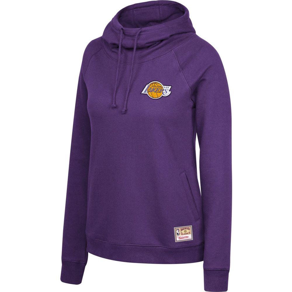 ミッチェルネス レディース トップス パーカー サイズ交換無料 Mitchell Ness Los Purple Angeles 年中無休 Pullover セットアップ Funnel Neck Lakers Hoodie
