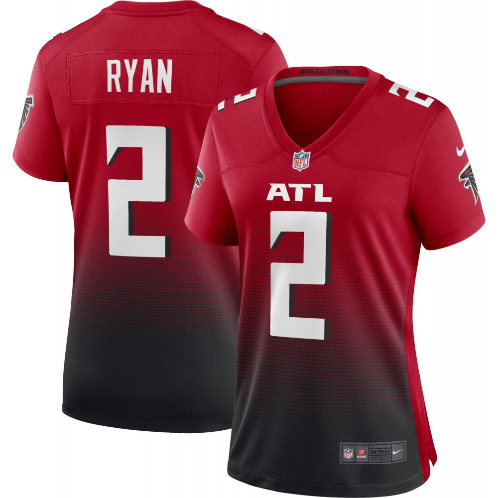 レディース ナイキ トップス #2 Falcons Jersey】 Ryan Nike 【Atlanta Red/Black Game Matt