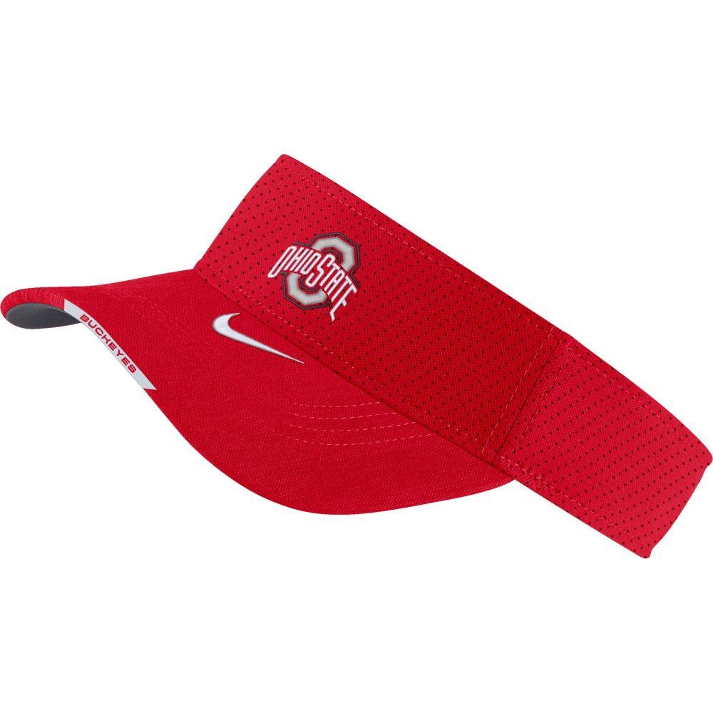 ナイキ メンズ 帽子 授与 サンバイザー サイズ交換無料 Nike 激安セール Ohio Buckeyes Visor Football Scarlet Sideline Aero State