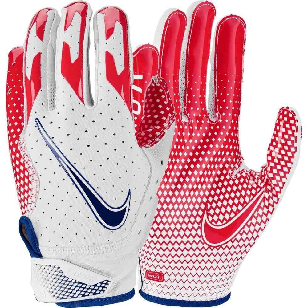 ナイキ ユニセックス アメリカンフットボール グローブ 格安SALEスタート White Red Blue サイズ交換無料 6.0 Gloves Vapor Jet Adult Nike Receiver 新作からSALEアイテム等お得な商品 満載 レシーバーグローブ
