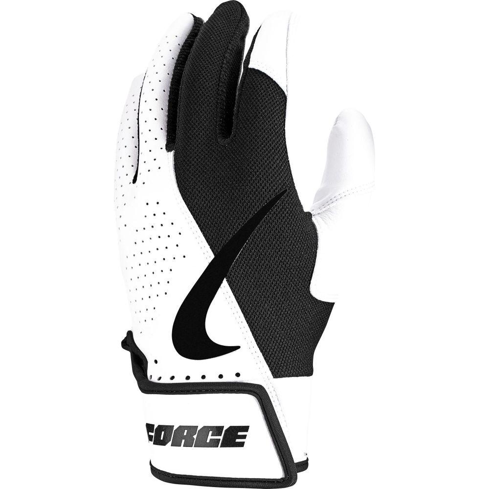 ナイキ ユニセックス 野球 グローブ Black White まとめ買い特価 サイズ交換無料 Edge Nike Gloves Force Batting バッティンググローブ 捧呈 Adult