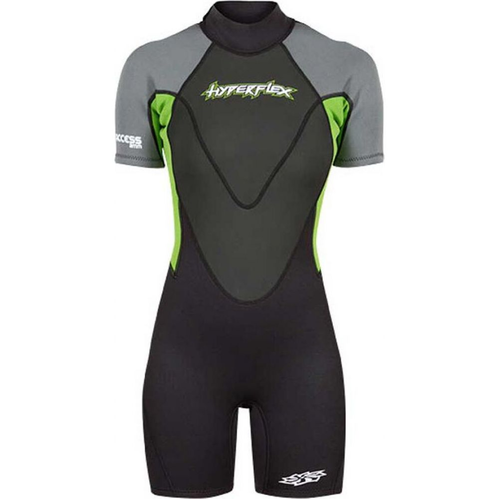 ハイパーフレックス レディース 海外 水着 ビーチウェア ウェットスーツ Black Gray Access Hyperflex Green Springsuit サイズ交換無料 Backzip 低価格