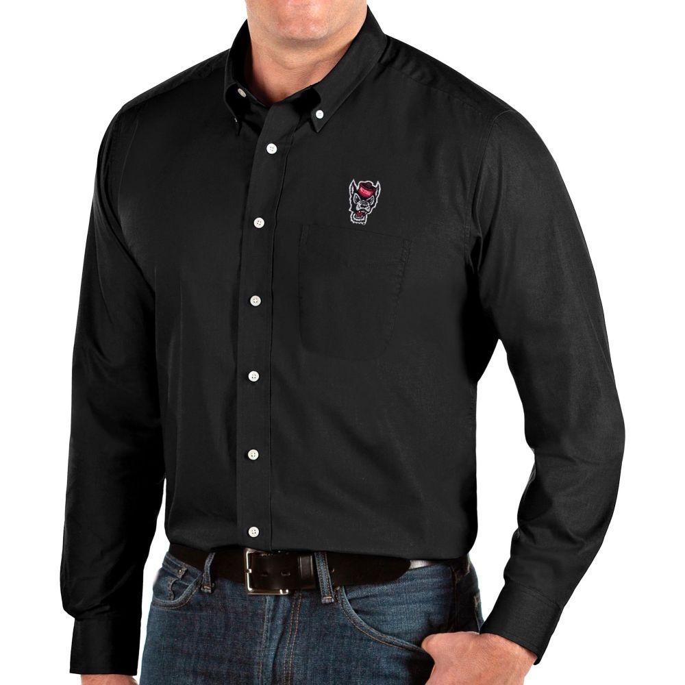 アンティグア メンズ トップス シャツ 【サイズ交換無料】 アンティグア Antigua メンズ シャツ トップス【NC State Wolfpack Dynasty Long Sleeve Button-Down Black Shirt】