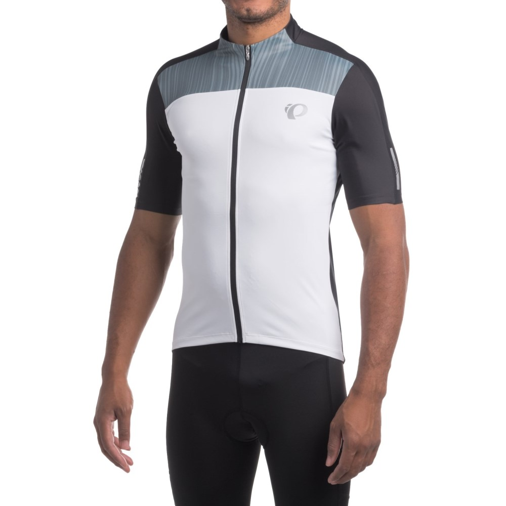 パールイズミ メンズ 自転車 トップス【ELITE Pursuit Cycling Jersey - UPF 50+, Full Zip, Short Sleeve】White / Black Rush