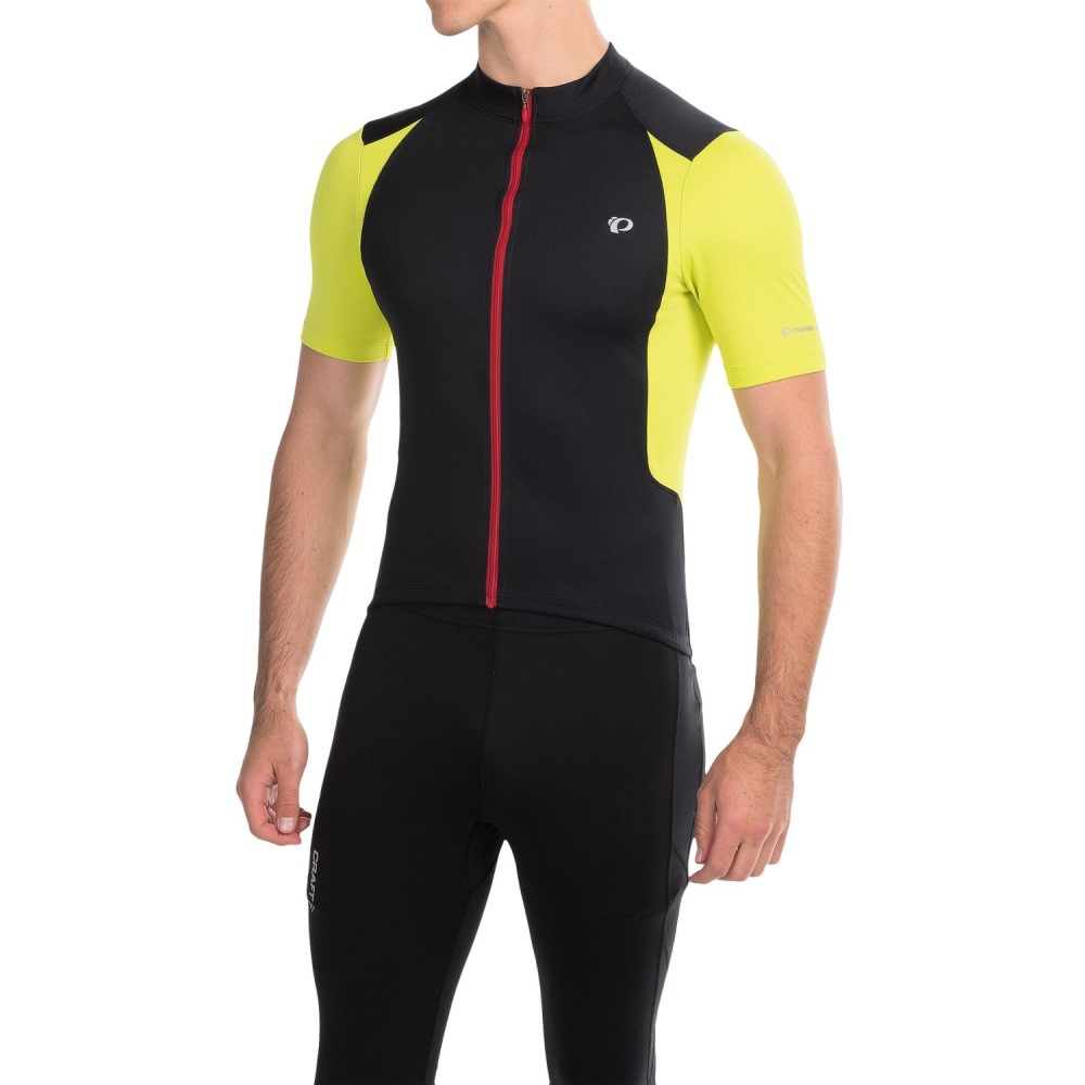 パールイズミ メンズ 自転車 トップス【SELECT Pursuit Cycling Jersey - UPF 50+, Full Zip, Short Sleeve】Black/Lime Punch