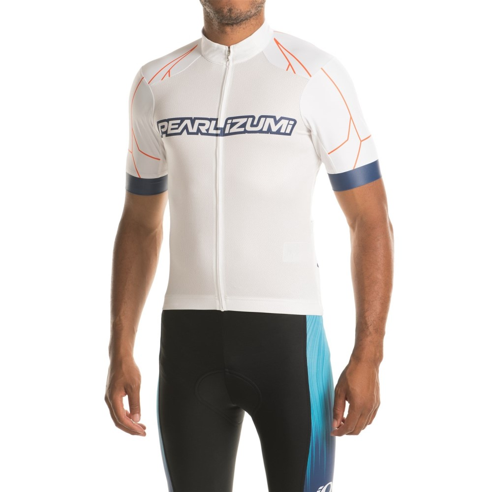 パールイズミ メンズ 自転車 トップス【ELITE Pursuit Summer Cycling Jersey - Short Sleeve】White / Bel Air Blue Rush