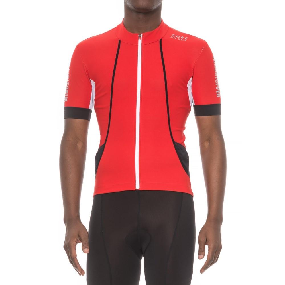 ゴアバイクウェア メンズ 自転車 トップス【Oxygen Windstopper Cycling Jersey - Short Sleeve】Red/Black