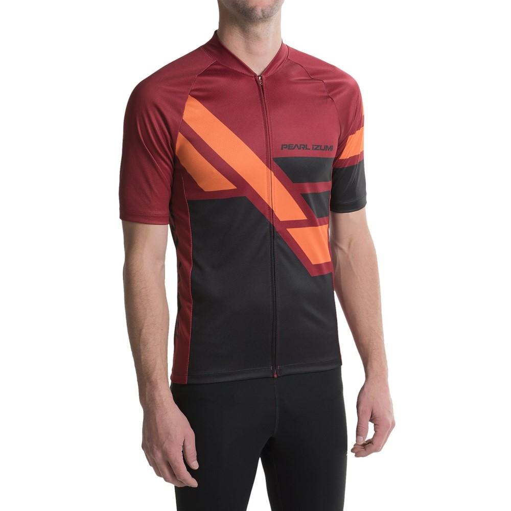 パールイズミ メンズ 自転車 トップス【MTB LTD Cycling Jersey - Full Zip, Short Sleeve】Diagonal Tibetan Red