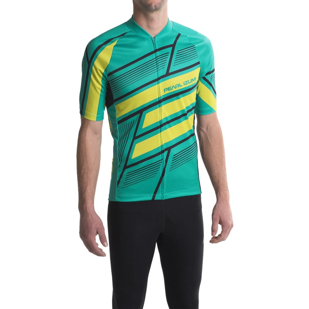 パールイズミ メンズ 自転車 トップス【MTB LTD Cycling Jersey - Full Zip, Short Sleeve】Block Viridian Green
