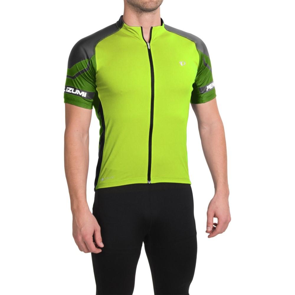 パールイズミ メンズ 自転車 トップス【ELITE Cycling Jersey - UPF 50+, Full Zip, Short Sleeve】Screaming Yellow/Green Flash
