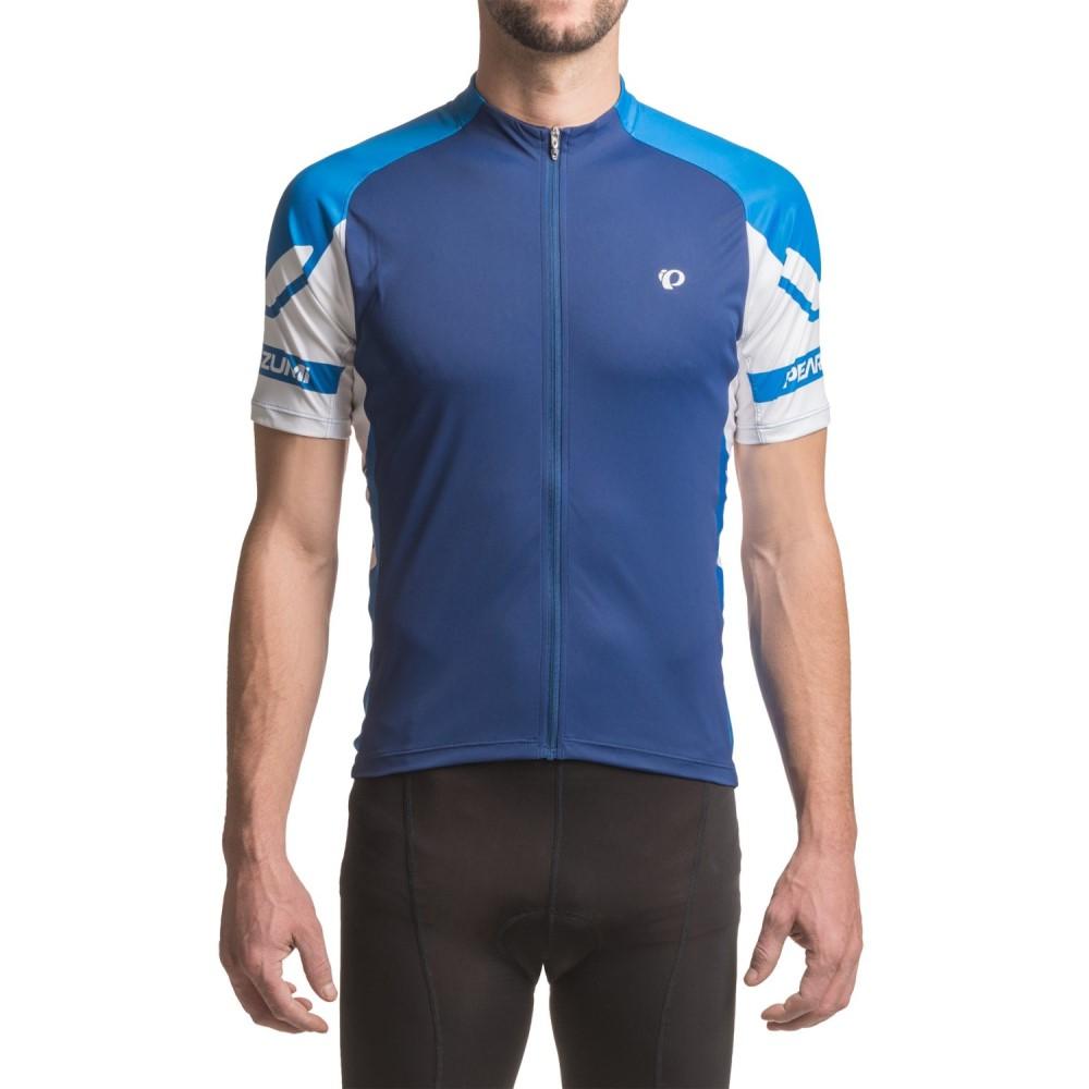 パールイズミ メンズ 自転車 トップス【ELITE Cycling Jersey - UPF 50+, Full Zip, Short Sleeve】Blue Depths/Sky Blue