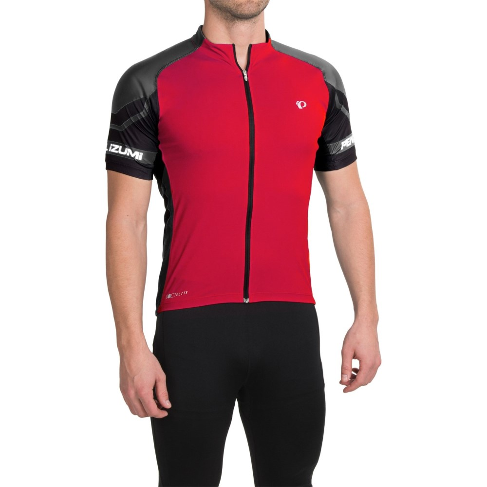 パールイズミ メンズ 自転車 トップス【ELITE Cycling Jersey - UPF 50+, Full Zip, Short Sleeve】True Red/Black
