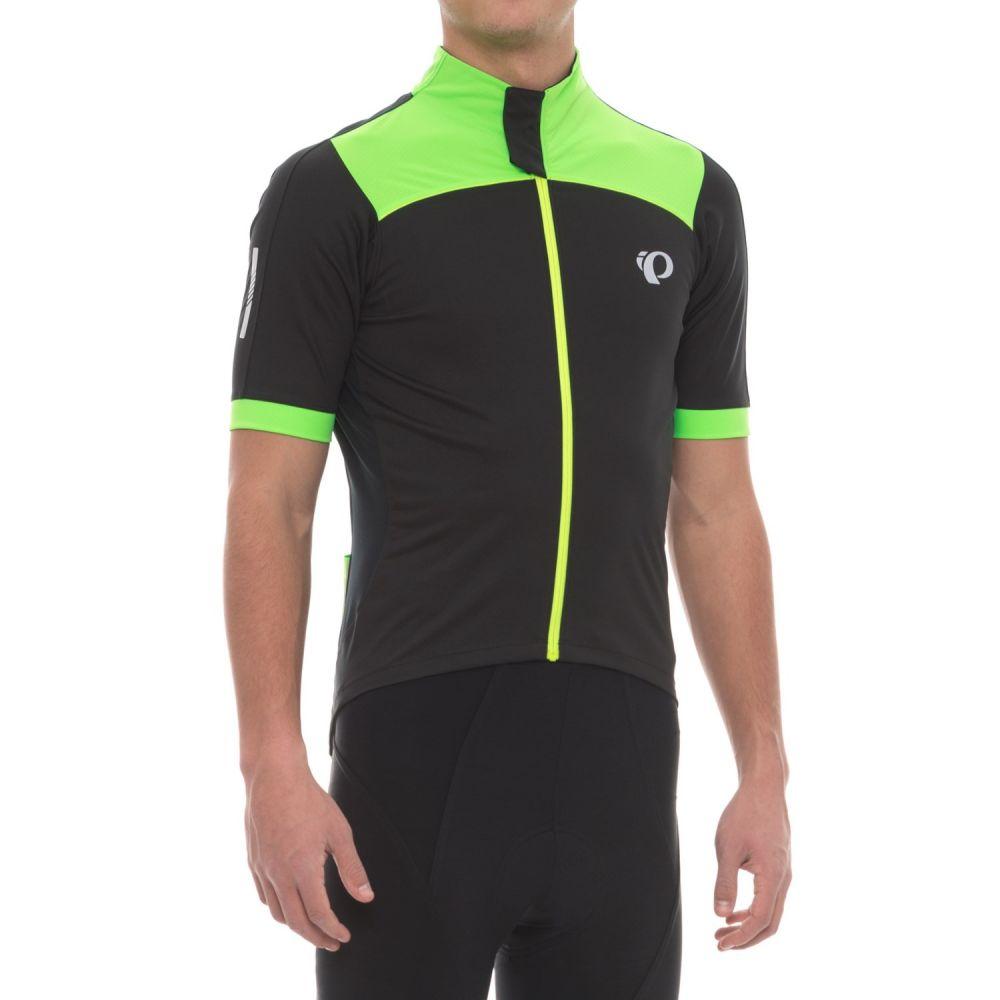 パールイズミ メンズ 自転車 トップス【P.R.O. Pursuit Wind Cycling Jersey - Short Sleeve】Black/Screaming Green