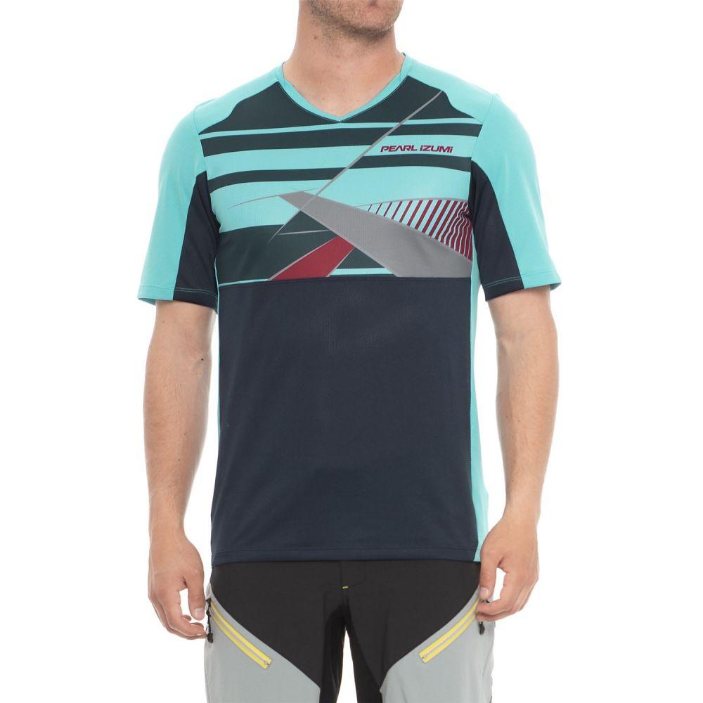 パールイズミ メンズ 自転車 トップス【Launch Mountain Bike Jersey - V-Neck, Short Sleeve】Blue Mist / Eclipse Blue