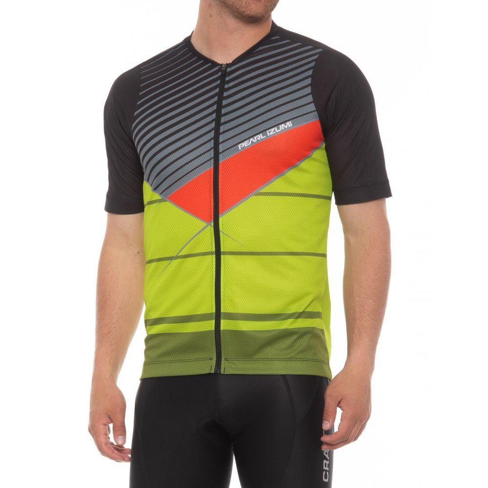 パールイズミ メンズ 自転車 トップス【MTB LTD Cycling Jersey - Full Zip, Short Sleeve】Black/Citron Stripe