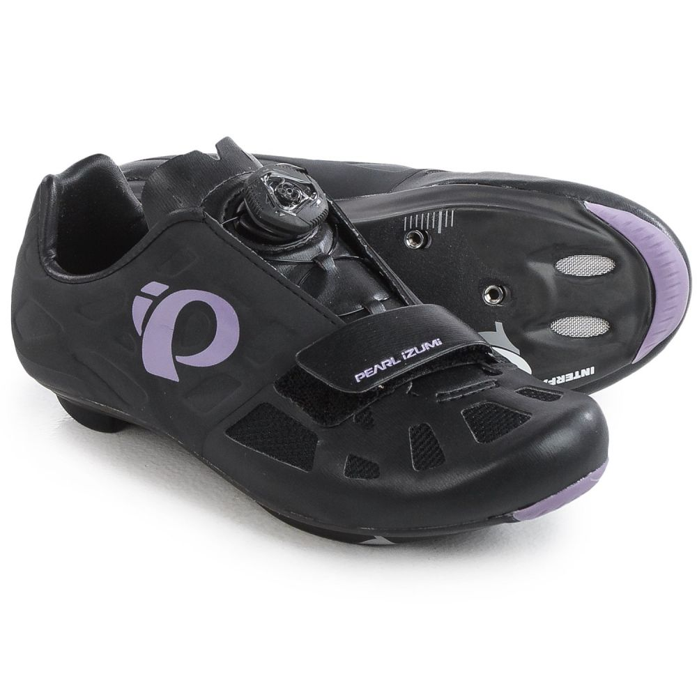パールイズミ レディース 自転車 シューズ・靴【ELITE Road IV Cycling Shoes - 3-Hole】Black/Purple Haze