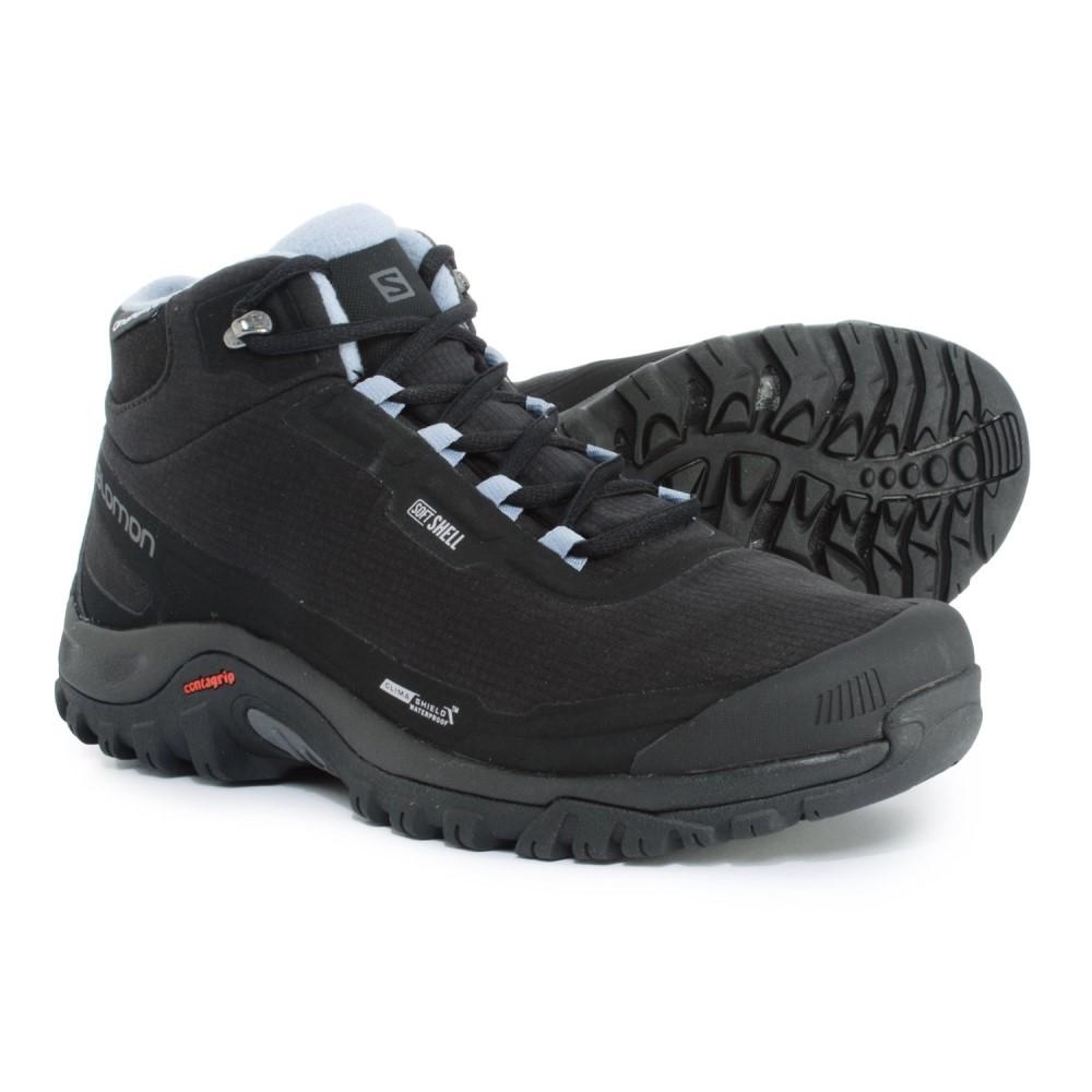サロモン Salomon レディース ハイキング・登山 シューズ・靴【Shelter CS Hiking Boots - Waterproof, Insulated】Black/Black/Stone Blue