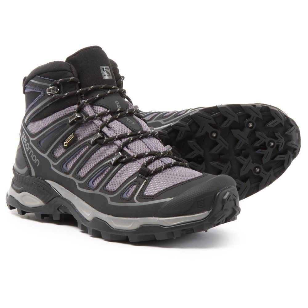 品質が完璧 サロモン Salomon レディース ハイキング・登山 シューズ・靴【X Ultra Mid 2 Spikes Gore-Tex Hiking Boots - Waterproof】Detroit/Black/Artist Grey-X, Suteki MORE 79b173fd