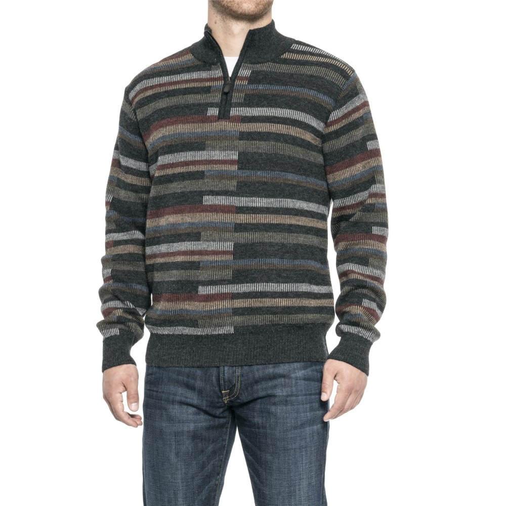 ブルー Blue メンズ トップス ニット・セーター【Alpaca Vertical Bar Sweater - Zip Neck】Charcoal