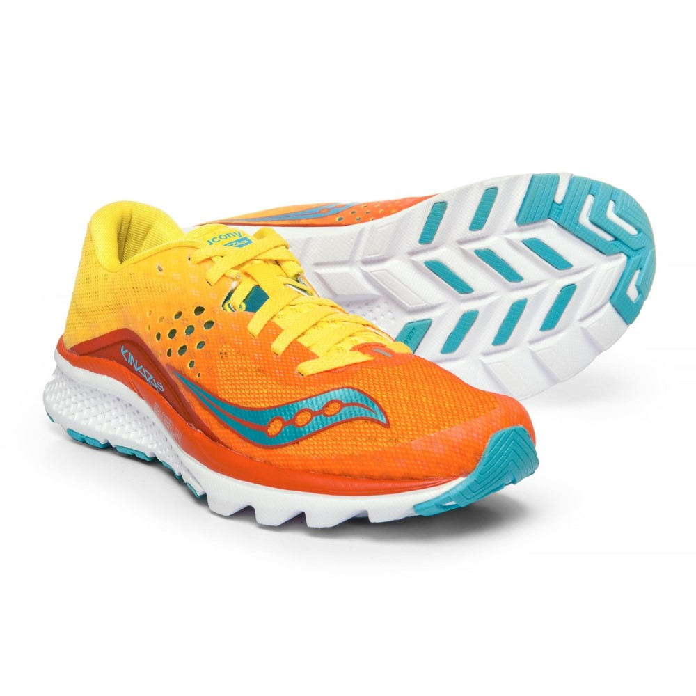 サッカニー Saucony レディース ランニング・ウォーキング シューズ・靴【Kinvara 8 Running Shoes】Orange/Yellow/Blue