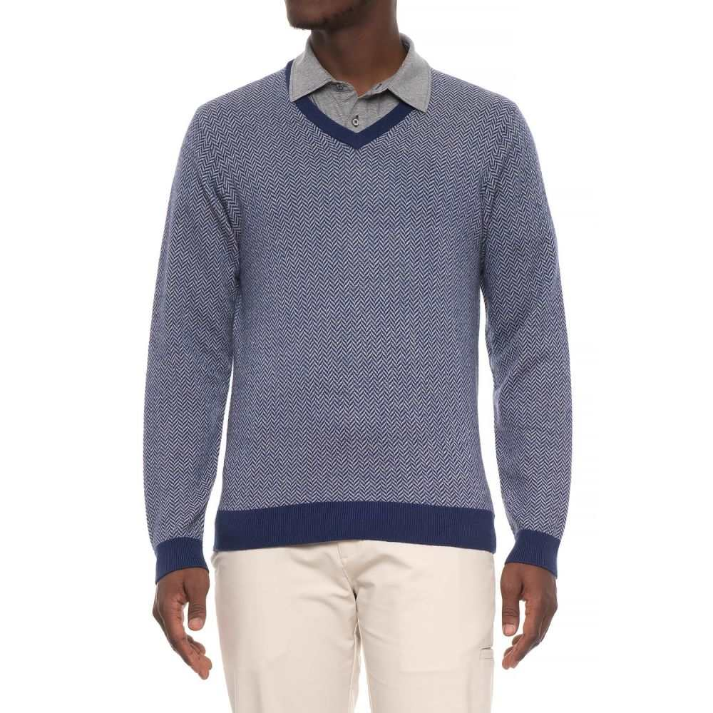 ボビージョーンズ Bobby Jones メンズ トップス ニット・セーター【Herringbone V-Neck Golf Sweater - Merino Wool】Summer Navy