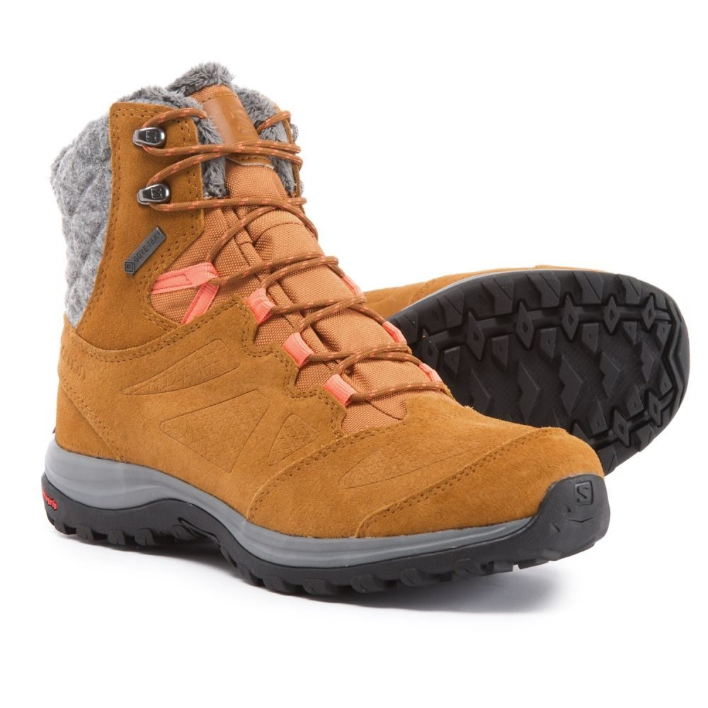 サロモン Salomon レディース ハイキング・登山 シューズ・靴【Ellipse Winter Gore-Tex Hiking Boots - Waterproof】Rawhide Leather/Rawhide Leather/Living Coral
