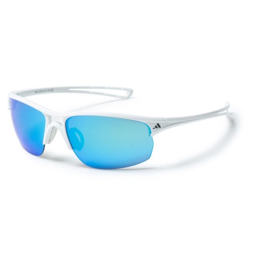 アディダス adidas メンズ スポーツサングラス【A404 Raylor L Sport Sunglasses】Shiny White/Blue Mirror